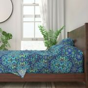 Paisley Blue Fashion Pop Art 100 Cotton Sateen Sheet Set By Roostery