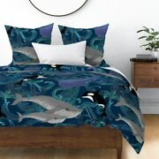 Whales Ocean Whale Painted Sea Waves Orca Sateen Duvet Cover By Roostery