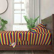 Rainbow Pride Striped Lgbt Queer Gay 100 Cotton Sateen Sheet Set By Roostery