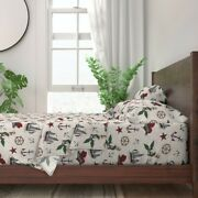 Nautical Sailor Tattoo Hipster Modern 100 Cotton Sateen Sheet Set By Roostery