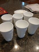 Vintage 6 Tall Milk Glass Drinking Cups Tumbler Grape And Leaf Pattern 6andrdquo Each