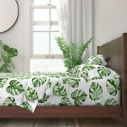 Monstera Leaves Tropical Paradise Green 100 Cotton Sateen Sheet Set By Roostery