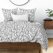 Black And White Dog Pet Coopercraft Canine Animal Sateen Duvet Cover By Roostery