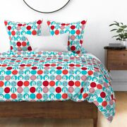 Polar Bear Polka Dot Modern Christmas Mid Century Sateen Duvet Cover By Roostery