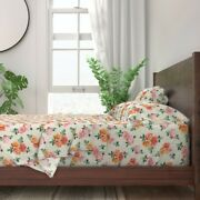 Vintage Retro Rose Floral Roses Shabby 100 Cotton Sateen Sheet Set By Roostery