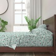 Mint Retro Cars Vintage Car Classic 100 Cotton Sateen Sheet Set By Roostery
