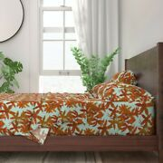 Flowers Orange Botanical Nature 100 Cotton Sateen Sheet Set By Roostery