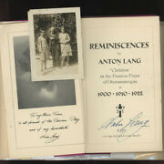 Anton Lang / Reminiscences Christus In The Passion Plays Of Oberammergau Signed