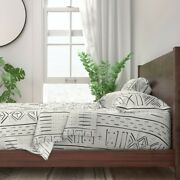 Neutral Geometric Mudcloth Minimal 100 Cotton Sateen Sheet Set By Roostery