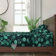Bird Watercolor Leaves Monochromatic 100 Cotton Sateen Sheet Set By Roostery