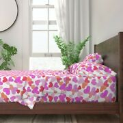 Pink Hearts Valentine Love Red Orange 100 Cotton Sateen Sheet Set By Roostery