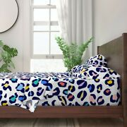 Pastel Leopard Bright Animal Print 100 Cotton Sateen Sheet Set By Roostery