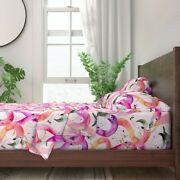 Tropic Birds Watercolor Flamingos 100 Cotton Sateen Sheet Set By Roostery