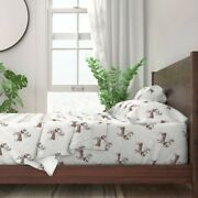Reindeer Christmas Lights Antlers 100 Cotton Sateen Sheet Set By Roostery