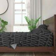 Conifer Pine Tree Trian Black White 100 Cotton Sateen Sheet Set By Roostery