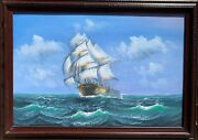 Large Oil Painting On Canvas, Seascape, Sailing Ship In The Stormy Ocean