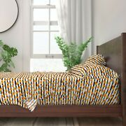 Halloween Candy Candy Corn Orange And 100 Cotton Sateen Sheet Set By Roostery