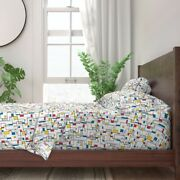 Mondrian Red Green Blue Abstract 100 Cotton Sateen Sheet Set By Roostery