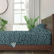 Navy Blue And White Love Bunny Romance 100 Cotton Sateen Sheet Set By Roostery