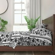 Black And White Black Jacobean Floral 100 Cotton Sateen Sheet Set By Roostery