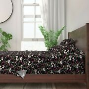 Watercolor Blooms On Black Moody Floral 100 Cotton Sateen Sheet Set By Roostery