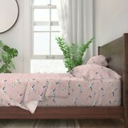 Bird Coastal Flying Flamingo Pink Blue 100 Cotton Sateen Sheet Set By Roostery