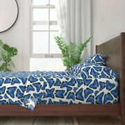 Blue Morpho Butterfly Illustration 100 Cotton Sateen Sheet Set By Roostery
