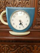 Ingraham Steaming Coffee Cup Clock Wall Or Shelf W/ Quartz Movement Made In Usa