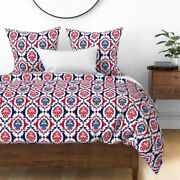 Football Red White And Blue Damask Red Blue Helen Sateen Duvet Cover By Roostery