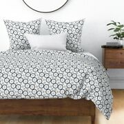 Bicycle Wheels Gear Wheel Black And White Grey Sateen Duvet Cover By Roostery