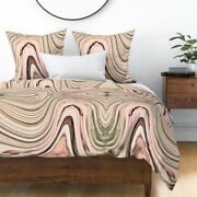Marble Abstract Swirl Stripes Stone Texture Sateen Duvet Cover By Roostery