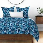 Watercolor Nautilus Sapphire Blue Shells Ammonite Sateen Duvet Cover By Roostery