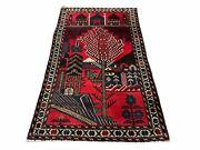 3x5 New Vintage Handmade Tribal Balouchi Rug Organic Dyes Red Buildings Nature