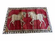 4 X 6 Handmade Hand-knotted New Vintage Rug Wool Horses Red Organic Dyes Tribal