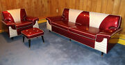 1950and039s/60and039s Vintage Sofa Chair And Ottoman Coca-cola Red And White Sparkly