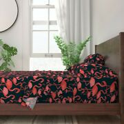 Vintage Flamingo Tropical Retro Birds 100 Cotton Sateen Sheet Set By Roostery