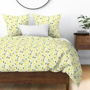 Lemons Watercolor Yellow Fun Kitchen Laundry Room Sateen Duvet Cover By Roostery