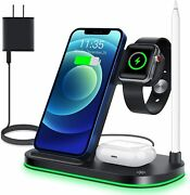 Waitiee Wireless Charger, 4 In 1 Charging Stand For Apple Iphone 12,11, Pro Max,