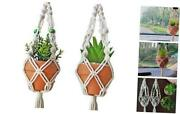 Mini Macrame Plant Hanger Rear View Mirror Car Cactus Charm Decorations Natural