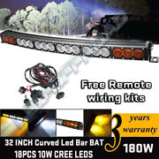 Single Row 32and039and039 Led Work Light Bar Offroad Amber White Combo Atv 4wd Truck Boat