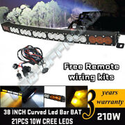 Single Row 38''inch Led Light Bar Dual Color Lamp Combo Offroad Suv 4wd Truck 40