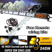 Curved 43and039and039 240w Cree Led Light Bar Combo Offroad Driving Lamps 4x4wd Truck Suv