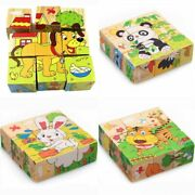 Baby Wooden Block Toys Animal Fruit Traffic Cognize Early Learning Educational T