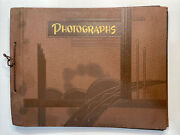 """Vintage Photo Album Scrapbook Brown Covers And Black Pages Empty 10"""" X 13"""""""