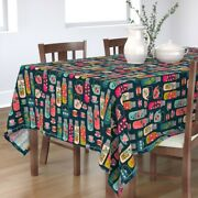 Tablecloth Flowers Thermos Picnic Floral Vintage Retro Cotton Sateen