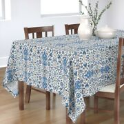 Tablecloth Indian Floral Blue Red White Vintage Persian Damask Cotton Sateen