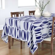 Tablecloth Indigo Vintage Blue Nautical Waves Tapestry Cotton Sateen