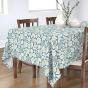 Tablecloth Blue Flower Garden Abstract Vintage Floral Flowers Cotton Sateen