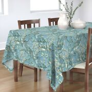 Tablecloth Vintage Botanical Blue Almond Tree Blossoms Flowers Cotton Sateen