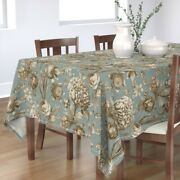 Tablecloth Botanical Butterfly Vintage Sepia Floral Green Blue Cotton Sateen